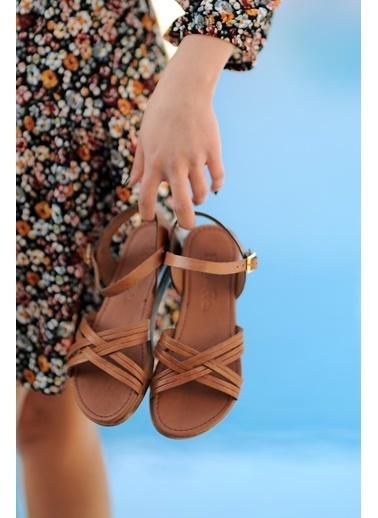 Pembe Potin A218-20 Kadın sandalet Taba